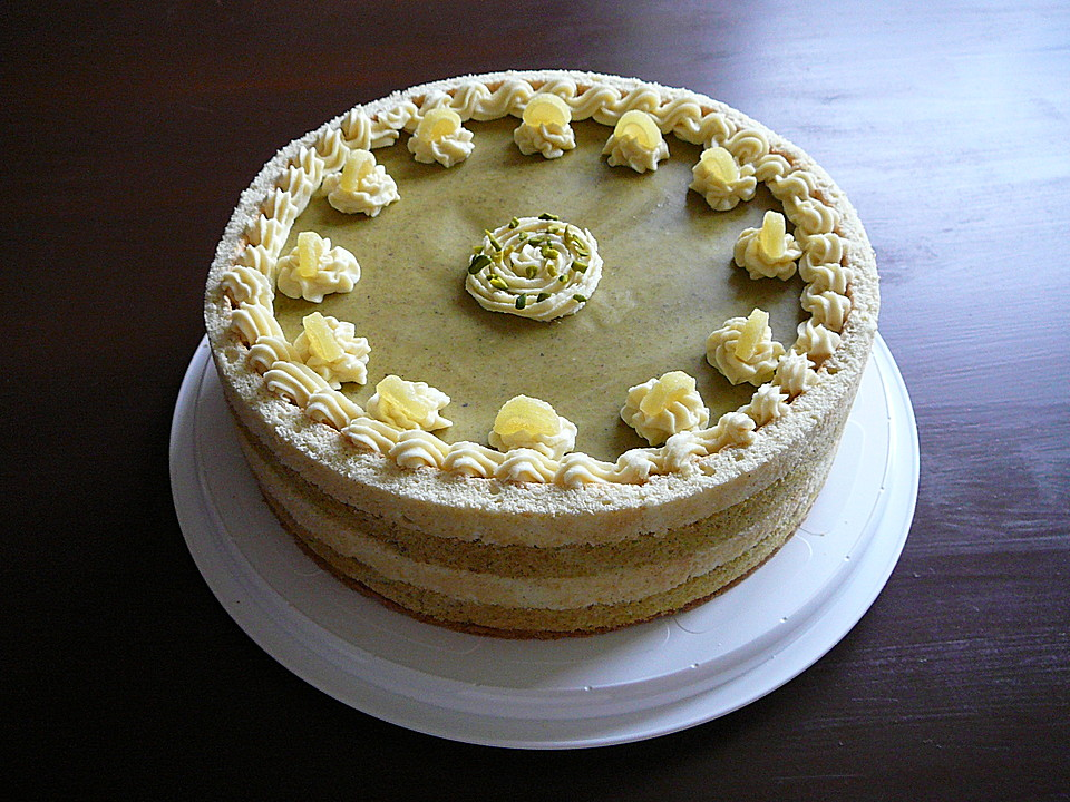 Gestreifte Pistazien Zitronen Torte Von Fritzi173 Chefkoch De