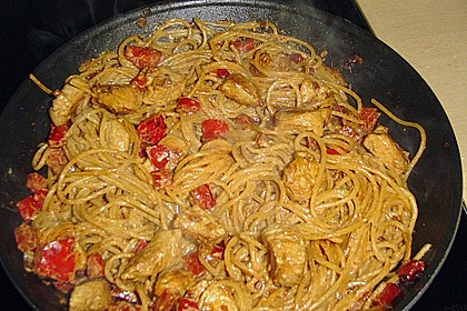 Scharfe Hähnchen - Spaghetti Pfanne 5