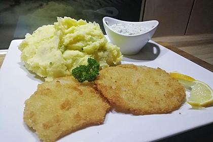 Panierte Kohlrabischnitzel an Kartoffel-Kohlrabiblätter-Püree für 2 Personen 2
