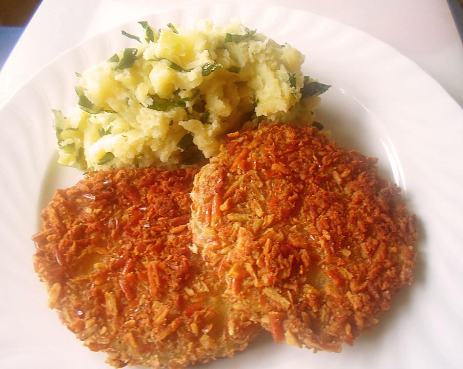 Panierte Kohlrabischnitzel An Kartoffel Kohlrabiblätter Püree Für 2
