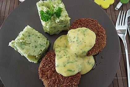 Panierte Kohlrabischnitzel an Kartoffel-Kohlrabiblätter-Püree für 2 Personen 1