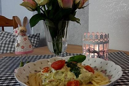 Pasta mit Bärlauch-Frischkäse-Soße und Cocktailtomaten 19