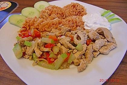 Buntes Pfannengyros mit Reis und Tzatziki