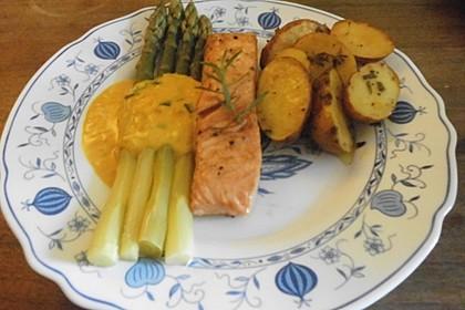 Spargel und Lachs mit Orangensauce 8