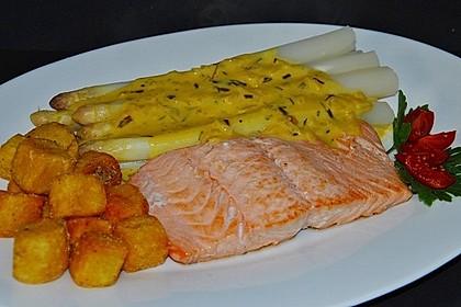 Spargel und Lachs mit Orangensauce 2