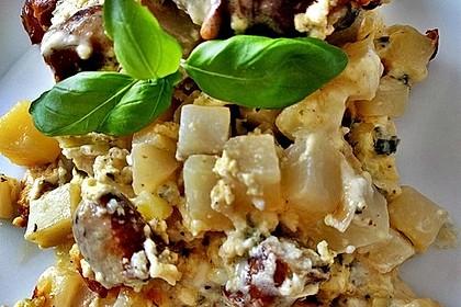 Überbackener Kartoffel-Kohlrabi-Bratwurst-Auflauf für 2 Personen 2