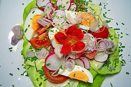 Bunte Kopfsalatnester mit Joghurt-Kräuterdressing