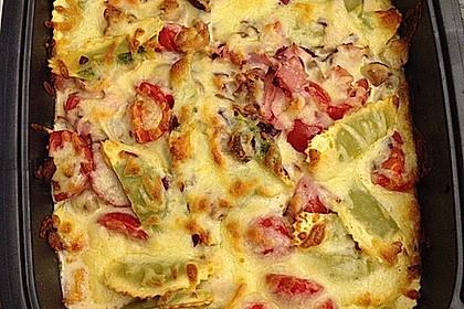 Überbackene Tortelloni in Tomaten-Champignon-Rahm 4