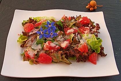 Blattsalate mit Grapefruit und Joghurt-Dressing