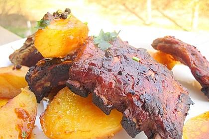 Köstliche BBQ Spareribs für Smoker und Backofen mit Soße und Gewürzmischung 26