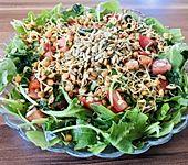 krümeltigers Tomatensalat mit Spinat und Linsensprossen (Bild)