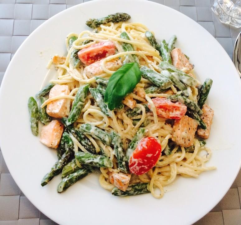 Spaghetti Mit Lachs Und Grünem Spargel Von Tommy07 Chefkoch
