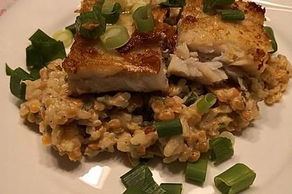 Fischfilet mit Limettenbutter und Linsen-Risotto 7