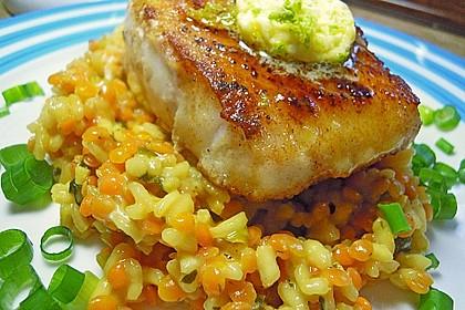 Fischfilet mit Limettenbutter und Linsen-Risotto