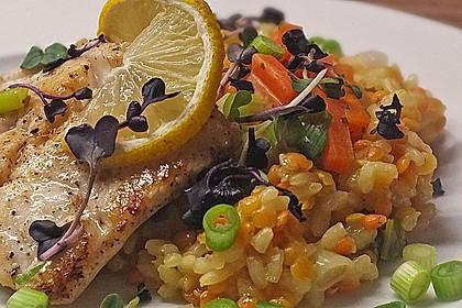 Fischfilet mit Limettenbutter und Linsen-Risotto 1