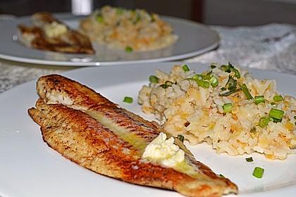Fischfilet mit Limettenbutter und Linsen-Risotto 4
