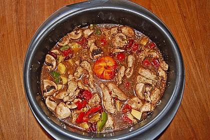 Ofentopf mit Hähnchen, Kidneybohnen, Champignons