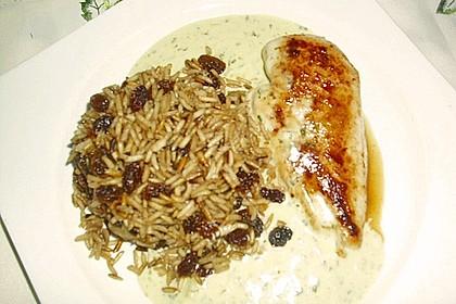 Hähnchen mit Senfsoße und Cola-Reis