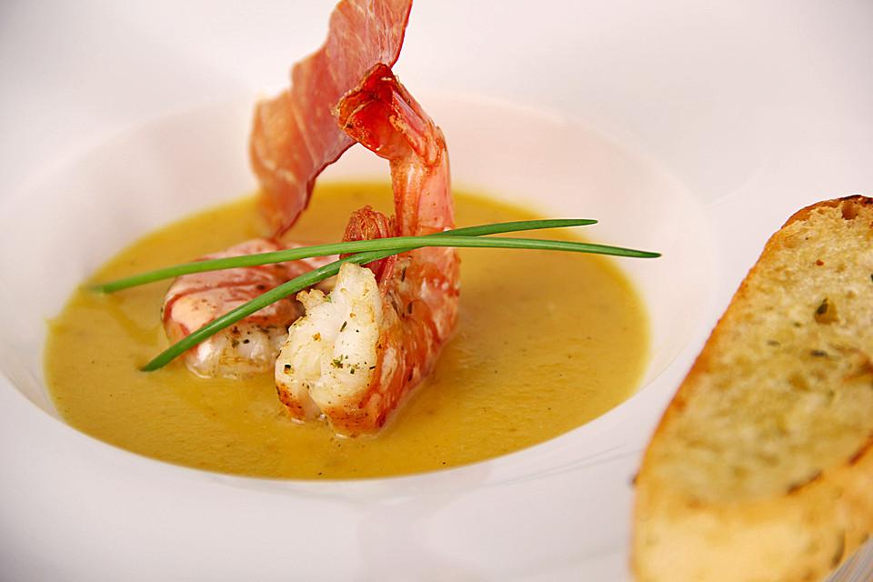 Butternut-Kürbissuppe mit Garnelen von cth3105 | Chefkoch