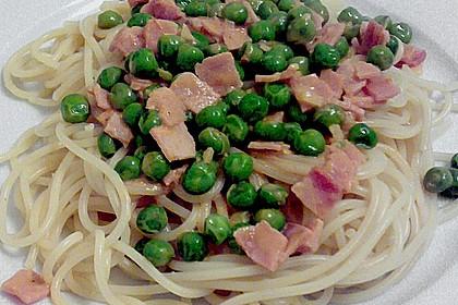 Spaghetti mit Schinken und Erbsen 5