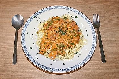 Spaghetti mit Schinken und Erbsen 7