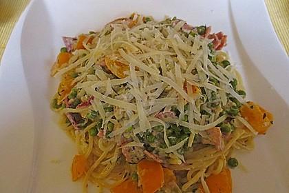 Spaghetti mit Schinken und Erbsen