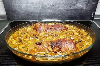 Schweinefilet im Speckmantel mit sahniger Champignon-Käsesoße 2