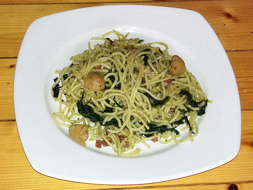 Nudeln Mit Pesto Speck Spinat Und Champignons Von Nx 01 Chefkoch