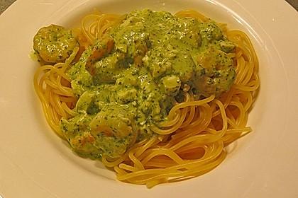 Pasta mit Shrimps und Grüner Soße 1