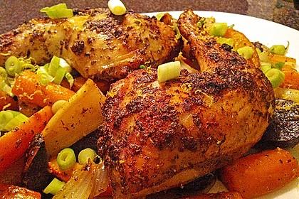 Herbstliches Ofengemüse mit Hähnchenschenkeln