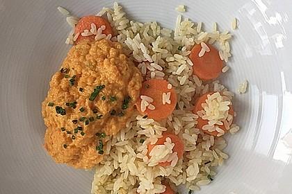 Möhren-Reis mit Möhren-Kokos-Sauce