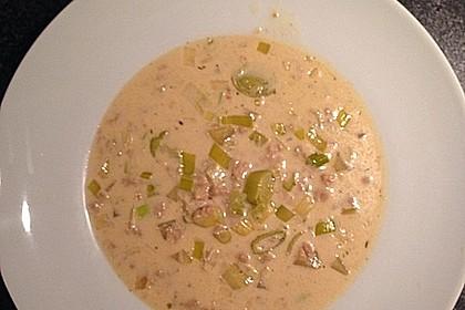 Käse-Lauch-Suppe mit (Soja-)Hack 5
