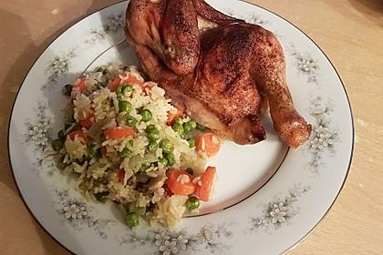 Gemüsereis mit gebratenem Hähnchen 1