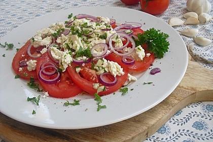 Leckerer Tomaten-Knoblauch Salat (Bild)