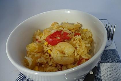Exotische Reispfanne mit Ananas, Shrimps und Mangochutney 1