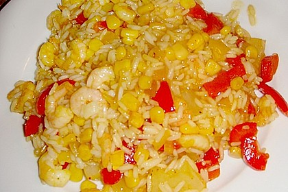 Exotische Reispfanne mit Ananas, Shrimps und Mangochutney 14