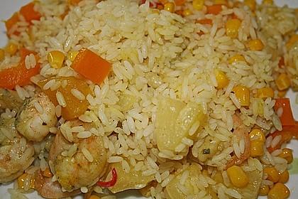 Exotische Reispfanne mit Ananas, Shrimps und Mangochutney 11