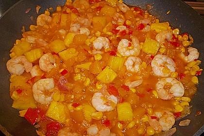 Exotische Reispfanne mit Ananas, Shrimps und Mangochutney 12