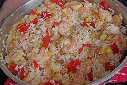 Exotische Reispfanne mit Ananas, Shrimps und Mangochutney 4