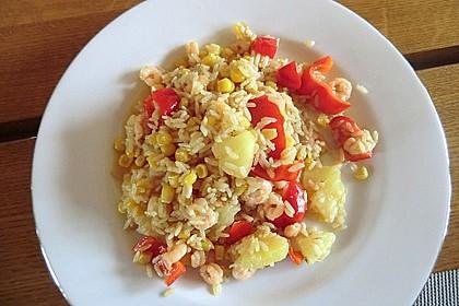 Exotische Reispfanne mit Ananas, Shrimps und Mangochutney 9