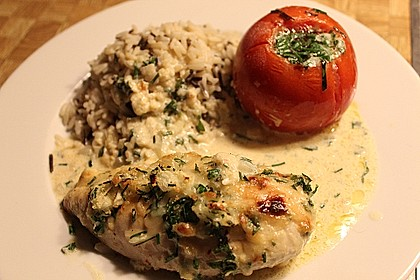 Hühnerbrustfilet mit Kräuter - Käsekruste