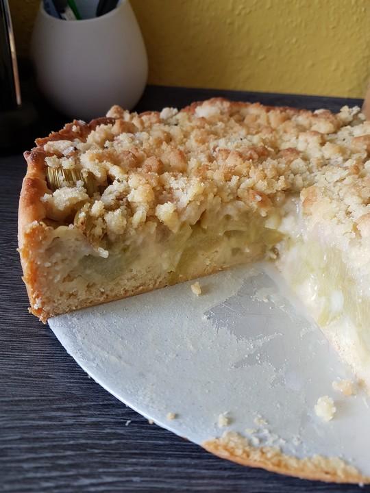 Rhabarber Streusel Kuchen Auf Quark Ol Teig Chefkoch De