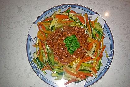 Schweinegeschnetzeltes an Julienne-Gemüse