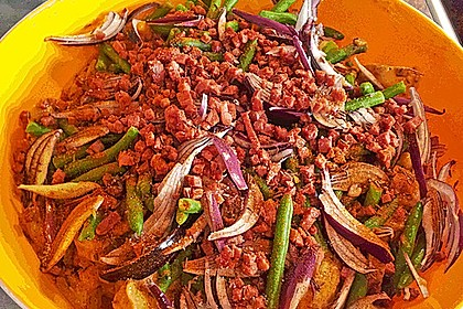 Texas BBQ Kartoffelsalat mit Speck und Barbecue Sauce