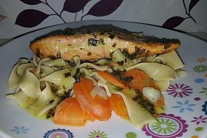 Lachs  in Senfmarinade mit Gemüsenudeln 8