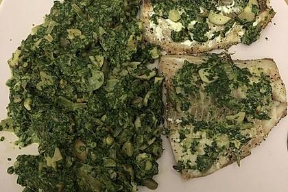 Wildlachs an Blattspinat mit Champignons, Parmesan und Cashewkernen 1