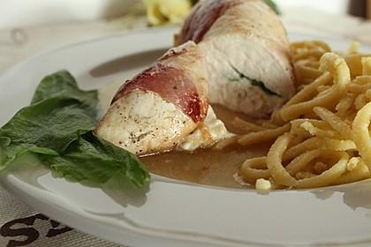 Hähnchenbrust-Bärlauch-Rouladen mit Bacon und Käse