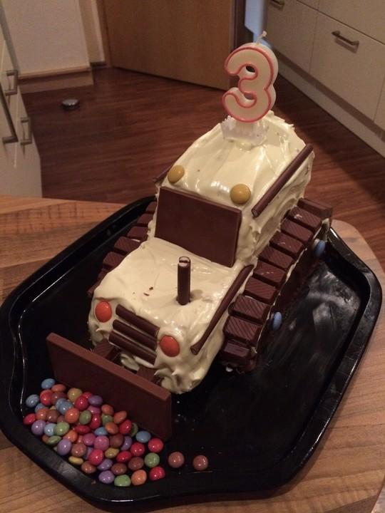 Bagger Planierraupe Kuchen Für Den Kindergeburtstag Von Heidibeere