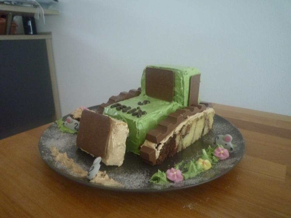 Bagger Planierraupe Kuchen Fur Den Kindergeburtstag Von Heidibeere