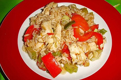 Jambalaya mit Hähnchen und Gemüse